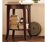 chloe side table from pottery barn.. like the slight flare in the legs and the shelf underneath.