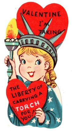 """Girl Is Statue of Liberty """"Im Carrying A Torch for U"""" Vtg Unused Valentine Card 