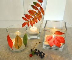 Pressed Leaves Votive Centerpiece by DonnaErickson.com https://www.facebook.com/pages/Donnas-Day/10150143749885235