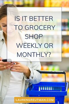 """In my money-saving and frugal living blog, I share a lot about shopping like where to go for the best deals, how to coupon, and more. Recently I had a reader reach out to ask, """"Is it better to grocery shop weekly or monthly?"""" Read my tips for saving money on groceries no matter how often you shop. Save Money On Groceries, Ways To Save Money, Money Saving Tips, How To Make Money, Frugal Living Tips, Frugal Tips, Budget Spreadsheet, Financial Tips, Budgeting Tips"""