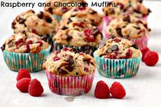 Fresh raspberries provide a fruity, sweet-tangy contrast to chocolate in these more-ish, moist and totally scrumptious muffins! Great for breakfast or anytime you feel like snacking. #raspberry #chocolate #muffins