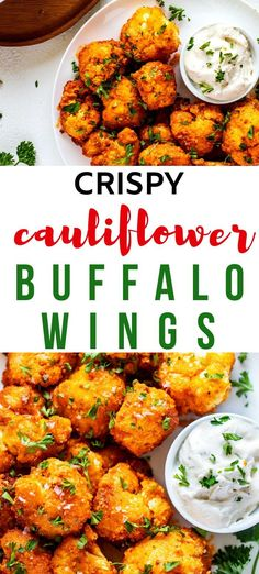 If you love appetizers that leave the whole family happy, you are going to love this Crispy Cauliflower Buffalo Wings Re Low Carb Appetizers, Appetizer Recipes, Dinner Recipes, Snack Recipes, Appetizer Ideas, Party Appetizers, Veggie Recipes, Gluten Free Recipes, Low Carb Recipes