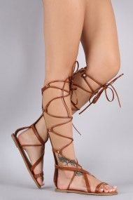 This gladiator flat sandal features an open toe silhouette, strappy construction with adjustable lace-up front, and decorative pyramid studs detail. Finished with lightly padded insole and rear zipper closure for easy on/off. Lace Up Gladiator Sandals, Brown Sandals, Flat Sandals, Flat Shoes, Oxford Shoes, Beautiful Sandals, Female Feet, Women's Feet, Look Cool
