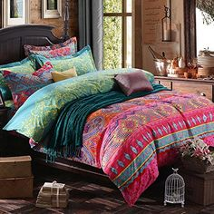 Newrara Home Textile,boho Style Duvet Cover Set,bohemia Exotic Bedding Set,4pcs Bedding Set,queen (king)
