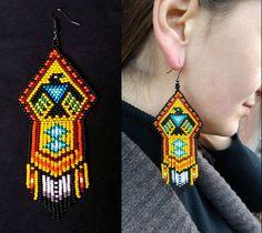 Eagle Beaded Earrings, Native America Bead Eagle Earring, Native American Big Earring, Native American Thunderbird Jewelry, Long Earrings