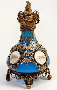 "Superb 7"" Tall Paris Grand Tour Souvenir Eglomise Opaline Gilt Perfume Bottle | eBay"