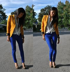 Want this blazer and love these bright blue skinnies