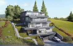 Visualisierungen Architektur: STOMEO Architektur Visualisierung - Zürich Terrace Hotel, Modern Villa Design, Cliff, Houses, House Design, Mansions, House Styles, Terrace, Architecture Visualization