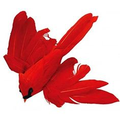 Package of 12 Bright Red Flying Artificial Cardinal Birds with Clips for Christmas Tree Ornaments *** Continue to the product at the image link.