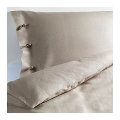 "LINBLOMMA duvet cover and pillowcase(s), natural Duvet cover length: 86 "" Duvet cover width: 86 "" Pillowcase length: 20 "" Duvet cover length: 218 cm Duvet cover width: 218 cm Pillowcase length: 51 cm"