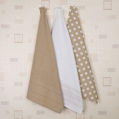 3pk Polka Dot Oversized Tea Towels - Natural