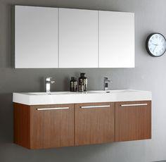 Art Exhibition Fresca Mezzo inch Teak Wall Mounted Double Sink Modern Bathroom Vanity