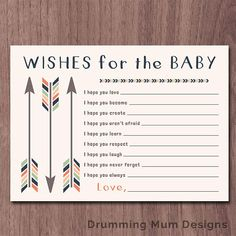 WISHES for BABY Tribal Arrows Wishes for the baby boy Baby