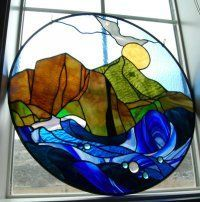 beautiful mountain stained glass