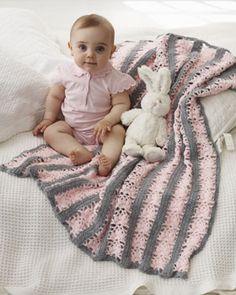 Bernat: Pattern Detail - Softee Baby - Lacy Stripes Blanket (crochet)