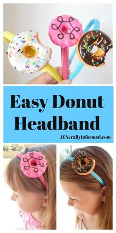 Learn how to make this super cute and easy donut headband! Donut Birthday Parties, Donut Party, 1st Birthday Girls, 10th Birthday, Birthday Ideas, Donut Decorations, Donut Costume, Grown Up Parties, Diy Donuts