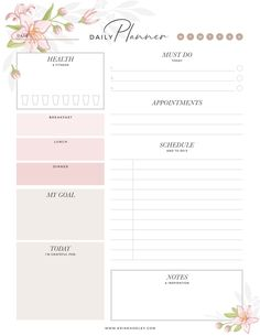 To Do Planner, Routine Planner, Daily Planner Pages, Printable Planner Pages, Student Planner, Planner Layout, Planner Template, Monthly Planner, Free Daily Planner Printables