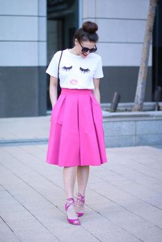Lips & Lashes Tee 25% off! And my fave pink midi skirt on Fashion & Frills! http://fashionandfrills.com/the-shopbop-friends-family-sale-is-here/