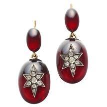 A pair of Victorian garnet and diamond drop earrings