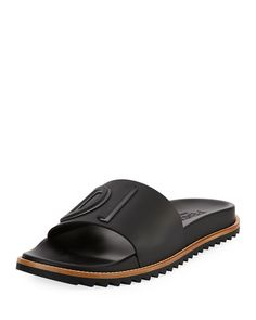 a92a70623b3c64 Fendi Rubber Slide Sandals w  Raised Logo Detail