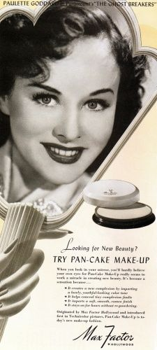 Paulette Goddard uses Max Factor Pan-Cake Make-Up in 1940