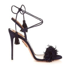 Aquazzura Wild Thing suede fringed sandals (2.395 BRL) ❤ liked on Polyvore featuring shoes, sandals, heels, navy, suede fringe sandals, navy shoes, high heel stilettos, embellished sandals and tie sandals