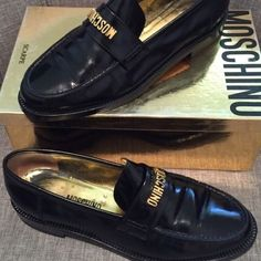 Women's Moschino loafers size 7.5 black designer gold casual leather shoes EUC #Moschino #loafers
