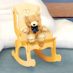 """Doll Furniture Rocker DIY Woodcraft Pattern #2013 - Doll Furniture Simple to trace and cut! • E-Z """"put-together & take-apart"""" fun! Sturdy American Heirloom Doll Furniture is simple to trace and cut. It can be painted or stained to match any room. Plus, all of the pieces lay flat for no-fuss storage! 15""""H x 14-1/2""""D x 9-1/2""""W. Pattern by Sherwood Creations  #woodworking #woodcrafts #pattern #doll  #craft #furniture #rocker"""