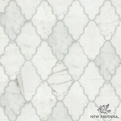 Djinn, a natural stone waterjet mosaic shown in Calacatta Tia polished, is part of the Silk Road Collection by Sara Baldwin for New Ravenna Mosaics. <br /> <br /> Take the next step: prices, samples and design help, http://www.newravenna.com/showrooms/