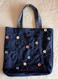 Blue Jean Bag Jean Tote Bag with Vintage Buttons by Annas7Closet