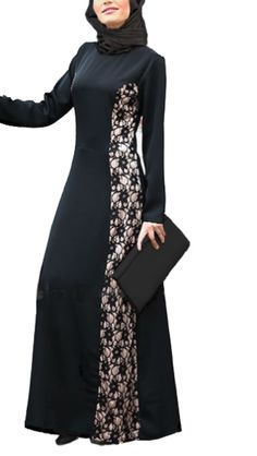 A breath taking abaya/maxi dress suitable for any event. Side to side floral lace pattern lay on luxurious gold satin. Black polyester chiffon hijab included for your coordinating style. Material: 100% Polyester. Color: Black. Gold satin under lace. www.dolcedemure.com