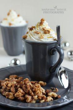 Mézes-fahéjas kávé ropogós fahéjas dióval
