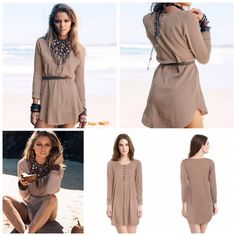 Tan Boho Henley Dress Perfect paired with a belt at the waist. Light weight material made of cotton, perfect for the warmer months coming up! Dresses Mini