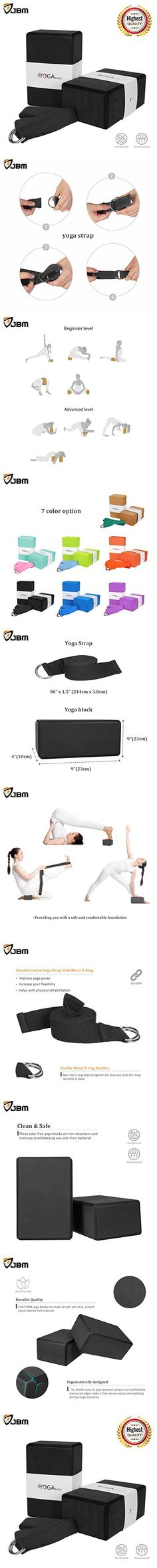 JBM Yoga Block plus strap with Metal D-Ring Yoga Brick Cork Yoga Block 6 colors 2 pack - High Density EVA Foam Yoga Block to Support and Deepen Poses, Lightweight, Odor-Resistant and Moisture-Proof