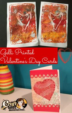 Gelatine printed valentine's day cards. Easy to do and recipe and video tutorial are included! Fun for all ages.
