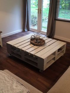 Pallet coffee table for sale. Has wheels so can move around easily. £70 Collection only from He