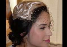 Vintage 1950s Taupe Satin Hat Skull Cap with Birdcage Veil Mad Men Party Evening Hat by TheVaultVintage, $30.00