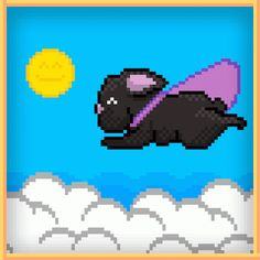 Pixel Art / Animated Gif: SUPER TOOTS! Now you know how French Bulldogs fly! So… gassy...