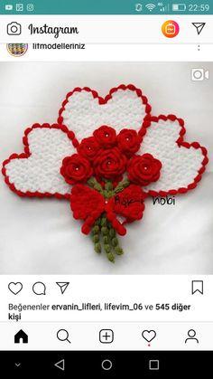 Filet Crochet, Crochet Stitches, Crochet Patterns, Erdem, Diy And Crafts, Crochet Earrings, Valentines, Knitting, Gifts