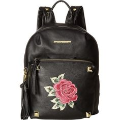 Steve Madden BRose Backpack (Black) Backpack Bags ($50) ❤ liked on Polyvore featuring bags, backpacks, black, studded backpack, steve madden backpack, daypack bag, zipper bag and zip handle bags