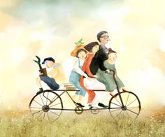 Thenew Art Agency aka Woo Hee Kwon - (The hole family Cycling, Biking) Couple Illustration, Illustration Art, Bike Couple, Baby Art, Life Is Like, Tandem, Cute Pictures, Cycling, Clip Art