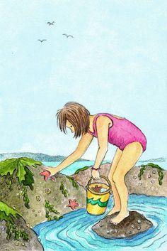 Er loop een meisje langs het strand, ze houdt een schelpje in haar hand,ze houdt een schelpje aan haar oor daar klinkt van ver een liedje door. (Harriet Laurey)