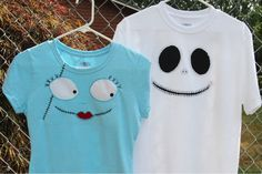 Disney Craft: Jack Skellington & Sally T-Shirts in Time for Mickey's Not So Scary Halloween Party Disney Diy, Disney Crafts, Disney Trips, Disney Theme, Disney Travel, Disney Ideas, Disney Style, Disney Halloween, Scary Halloween