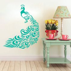 Wall Decal Peacock. Bedroom Wall Art Peacock by AdnilCreations