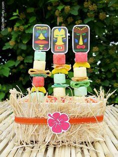 Totems de dulce para una fiesta Luau. (tutorial en inglés)