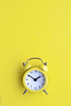 Yellow alarm clock by Ruth Black - Clock, Alarm clock - Stocksy United Clock Wallpaper, Mood Wallpaper, Pastel Wallpaper, Wallpaper Backgrounds, Screen Wallpaper, Blog Backgrounds, Wallpaper Quotes, Yellow Clocks, Black Clocks