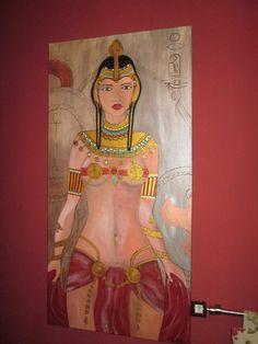boneca guerreira pintada em tela