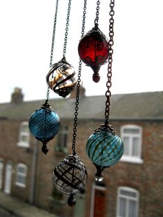 Witch Ball in Brass and Ocean Blue. Wee Portable by feralstrumpet