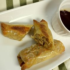 Homemade Baked Egg Rolls. Gotta try these.  I'll omit the mushrooms and add cooked meat, chicken or maybe shrimp.