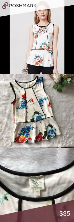 NWOT Anthropologie Bloomfall Peplum Tank This top is in perfect condition!  Size large Pit to pit is approx 18 inches  Length is approx 26 inches  Smoke and pet free home! No flaws like stains or holes! No modeling No trades! Anthropologie Tops Blouses